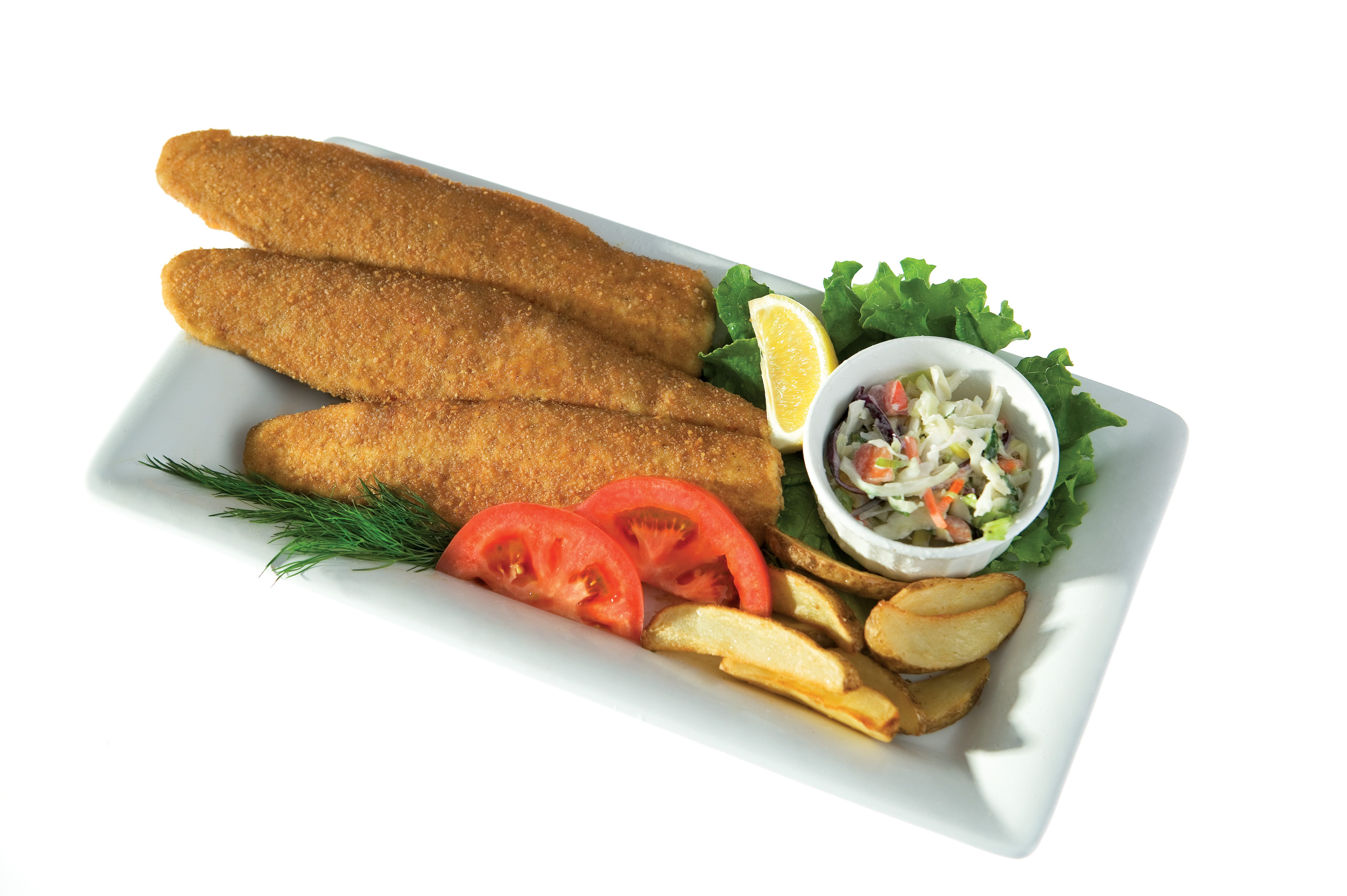 Breaded Fish Products on white plate