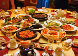 Meals on round table