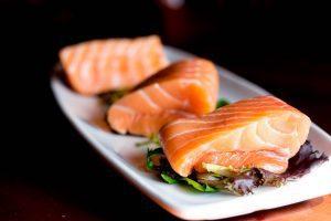 Raw Salmon on White Plate